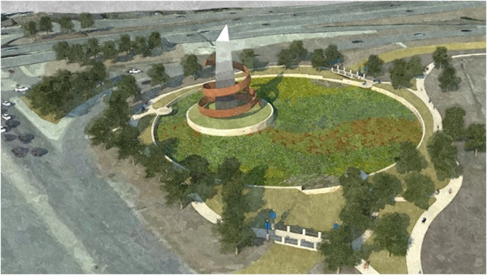 As part of The Lackland Master Plan, a monument is planned at the main entrance. Courtesy rendering.