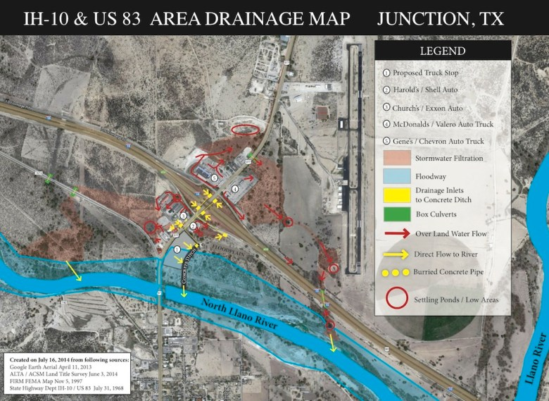 A drainage map of the construction site of a Pilot Flying J truck stop, flanked by the Llano River. Graphic courtesy of Bill Neiman.