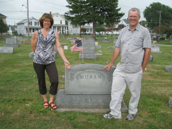 Mike Moran and sister Mary in Bellevue, Ohio at their family gravesite. Photo by Jack Parker.