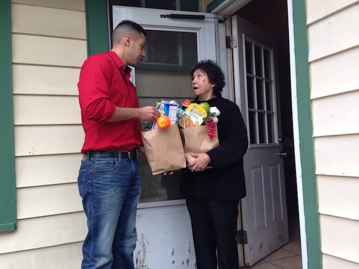 With no means of transportation, Consuelo was shocked to see her groceries arrive at her doorstep after placing her order only 3 hours before. Photo courtesy of Ruben Herrera.