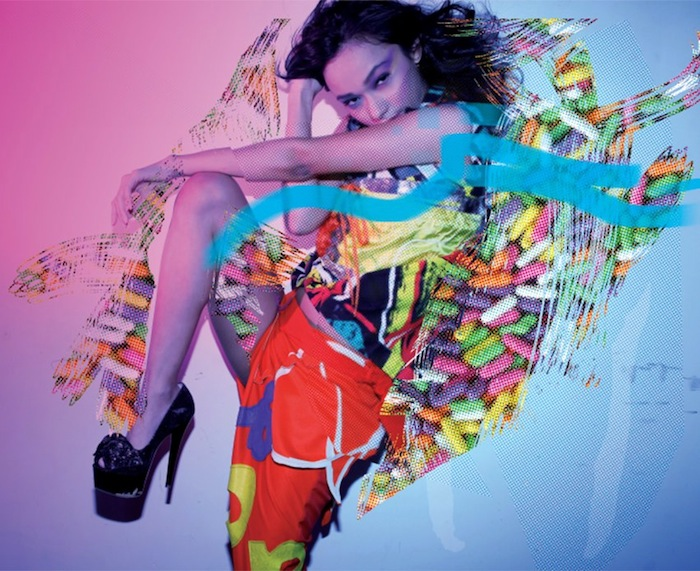 Melody Gonzales for Webb Party Pop Candy Poster. Styled by Agosto Cuellar. Design by Sixto Zavala