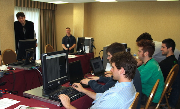 UTSA students and organizers participate in the National Colliegiate Cyber Defense Competition. Photo courtesy of UTSA.