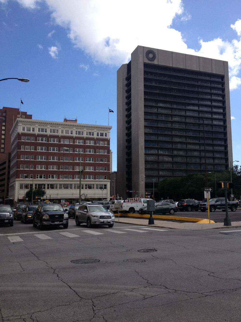 The Rand Building and the Frost Bank Tower. Photo by Robert Rivard.