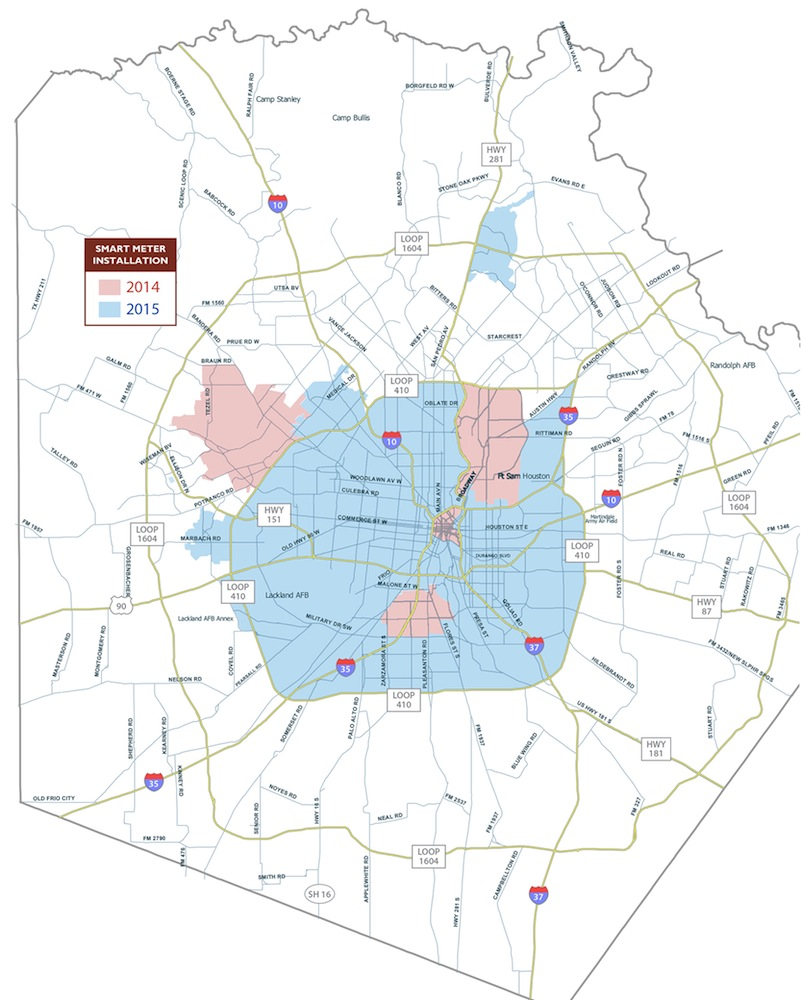 Smart meter installation map courtesy of CPS Energy.