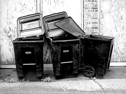 Empty trash bins. Photo by Flickr user Ryan Dickey.