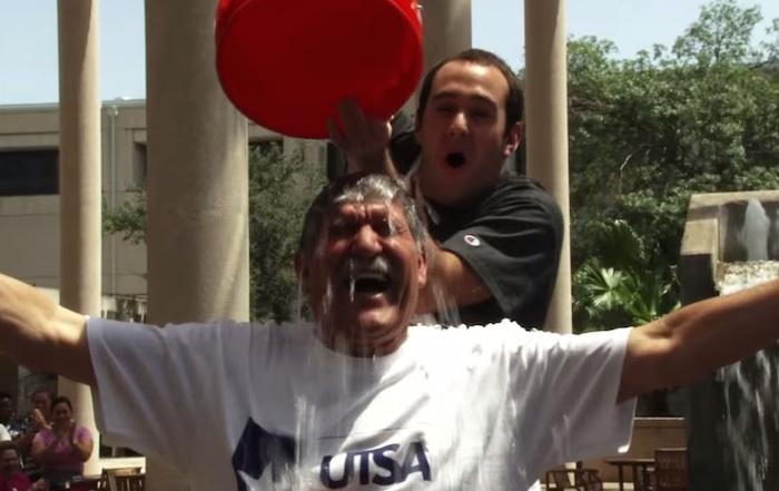 Screen shot from UTSA President Ricardo Romo's ice bucket challenge video.