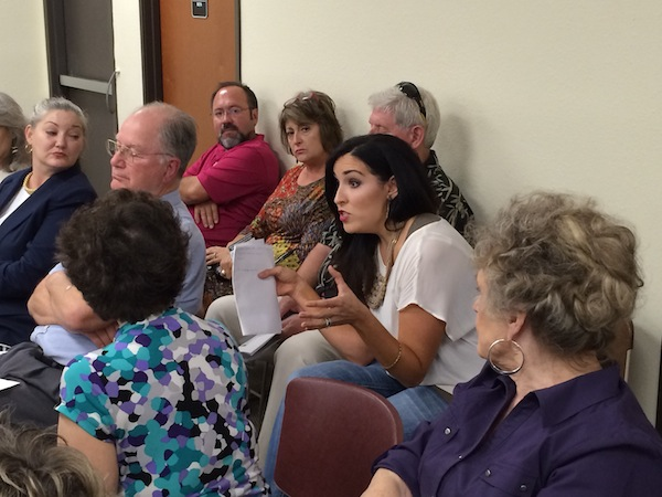 A concerned mother spoke to fellow Alamo Heights residents and City Council about CPS Smart Meters and their potential health effects. Photo by Katherine Nickas.