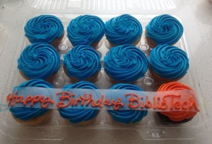 Festive cupcakes in BiblioTech's colors celebrate its first birthday on Saturday. Photo by Lily Casura.