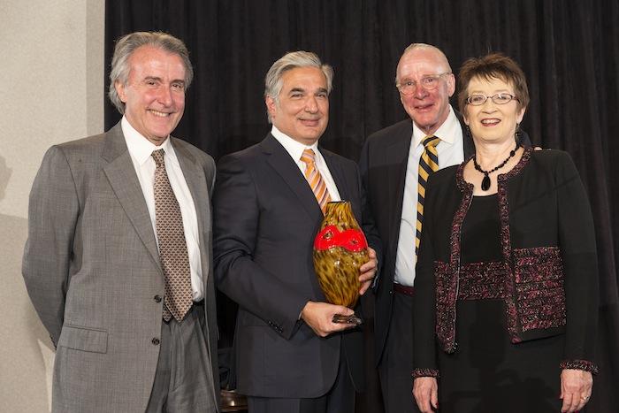 From left: Dr. Julio Palmaz, 2014 award recipient Dr. Francisco Cigarroa, BioMed SA Chair Ken Trevett, and President Ann Stevens. Photo by Joel Spring.