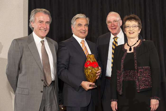 From left: Dr. Julio Palmaz, 2014 award recipient Dr. Francisco Cigarroa, BioMed SA Chair Ken Trevett, and President Ann Stevens. Photo by Joel Spring.