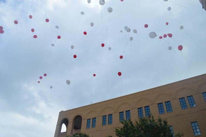 Ballons are released into the sky during opening day at A&M-SA's new Central Academic Building. Photo courtesy of A&M-SA.