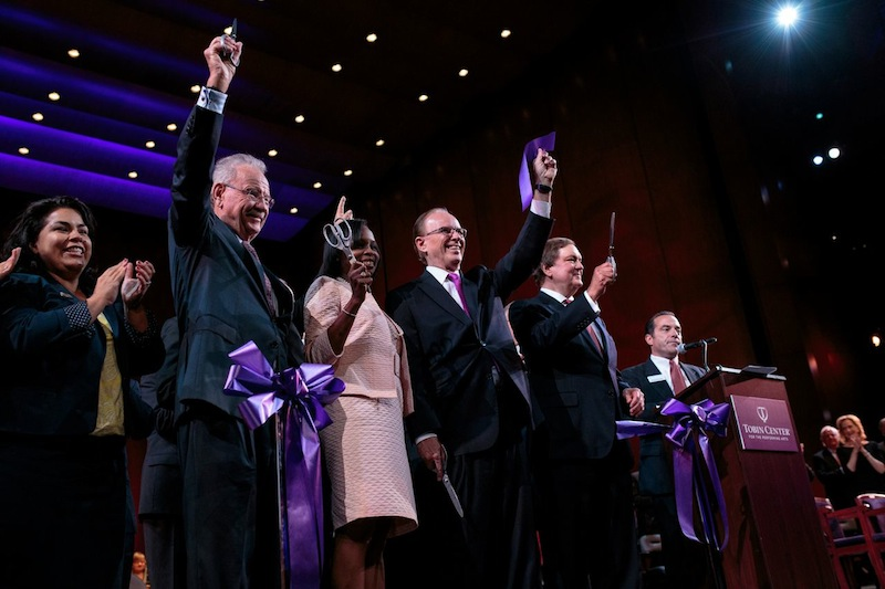 Former mayor Phil Hardberger, Mayor Ivy Taylor, Bexar County Judge Nelson Wolff, and Bexar County Performing Arts Center Foundation Chairman J. Bruce Bugg, Jr. cut the ribbon for the Tobin Center's opening ceremony. Photo by Scott Ball.