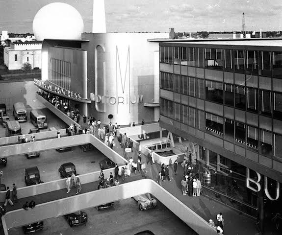 General Motors' vision of tomorrow from the 1939 World's Fair in New York. Note that pedestrians walk above vehicles which have taken over the ground. Public domain image.