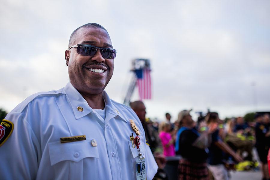 San Antonio Fire Deptarment Chief Charles Hood during the second annual San Antonio 110 9/11 Memorial Climb.