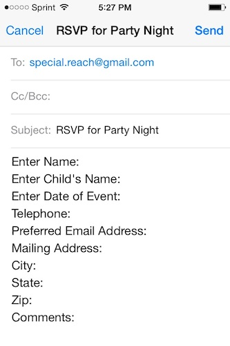 Viewing a document via the app. This flyer details the organization's upcoming party nights.
