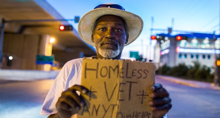 """Earl, an Armed Forces veteran has been panhandling for more than 15 years. """" I can't get a job, the only jobs available are manual labor.  I'm too old to work manual labor, I just can't function in this society."""" he said. Photo by Scott Ball."""