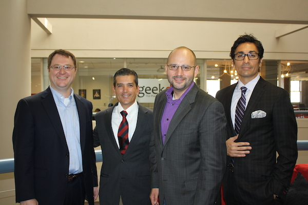 Rep. Mike Villarreal with the Hive Equity team at Geekdom during a press conference. Courtesy photo.