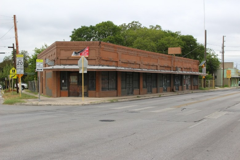 The building across Fredericksburg from the French & Michigan location stands derelict. Photo by Page Graham.