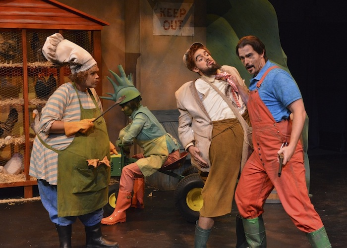 Farmer Bean reveals his murderous plan. From Left: Farmer Boggis (Edwin Vega), Farmer Bunce (Andrew Craig Brown) and Farmer Bean (Gabriel Preisser), (back) Mavis the Tractor (Gail Novak Mosites). Photo by Karen Almond.