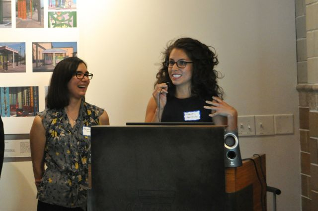 Adrianna Swindle (left) and Siboney Díaz-Sánchez speak to the audience during the first Latinos in Architecture exhibit in San Antonio. Photo by Iris Dimmick.