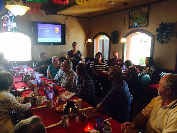 District 7 Councilmember Mari Aguirre-Rodriguez leads the final City budget review meeting with more than 40 neighborhood association presidents. Courtesy photo.