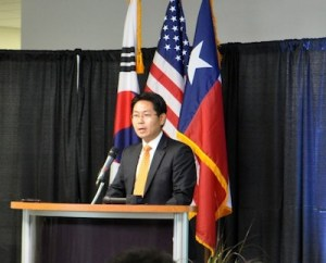 Mission Solar Energy President and CEO Alex Kim speaks during the manufacturing facility's opening ceremony. Photo by Iris Dimmick.
