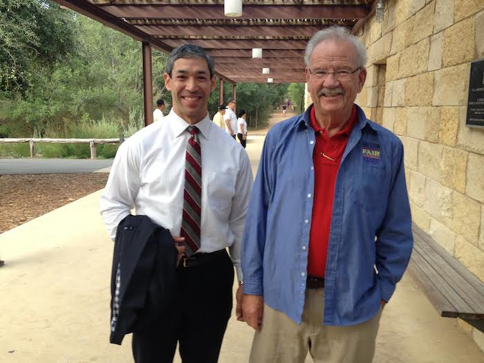 District 8 Councilmember Ron Nirenberg with former Mayor Phil Hardberger at Hardberger Ecology Center. Photo by Robert Rivard.