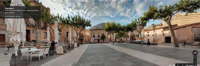 A city plaza in Valencia, Spain as an example of a pedestrian-centric thoroughfare. Image via Google Maps.
