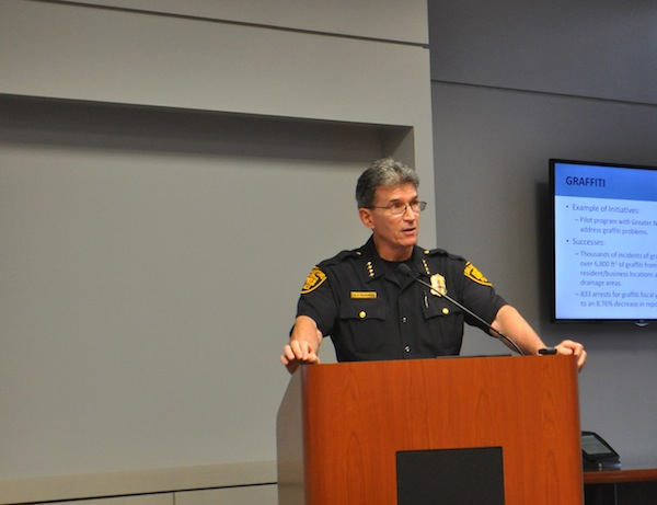 San Antonio Police Chief William McManus presents and update presentation to the Public Safety Committee. Photo by Iris Dimmick.