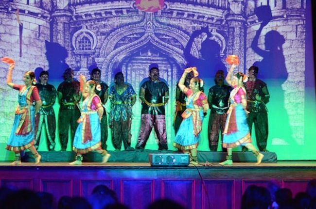 """Performers on stage during """"Sivagamiyin Sabadham."""" Photo courtesy of Aruna Dattawade."""