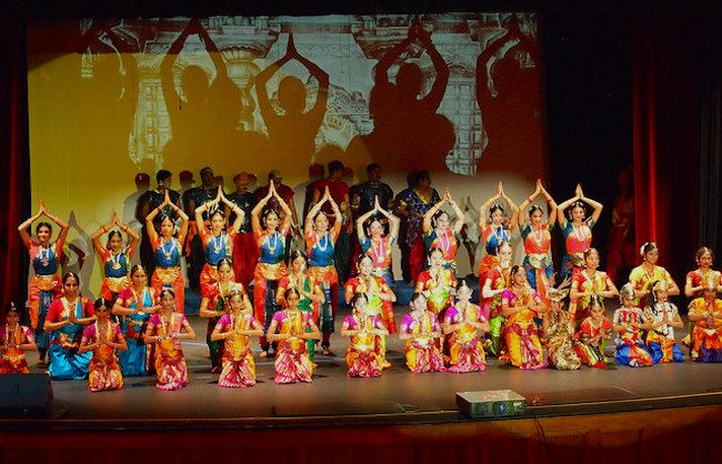 """Performers on stage during """"Sivagamiyin Sabadham."""" Photo by Kay Richter."""
