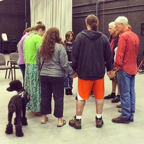 San Antonio cast members assemble before going on stage for a rehearsal at the KLRN studio Tuesday. Photo courtesy of Schandra Abigail Madha.