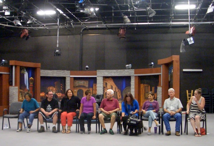 Cast members, minus one, ready themselves for a Telling Project: San Antonio rehearsal at the KLRN studio Tuesday. Photo by Lily Casura.