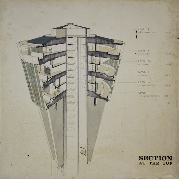 """An early design for the top house of the Tower of the Americas with additional floors. Image from the exhibit, """"Education by Design: Drawings from the Collection of Ford, Powell & Carson, 1939-1970"""" at Trinity University."""