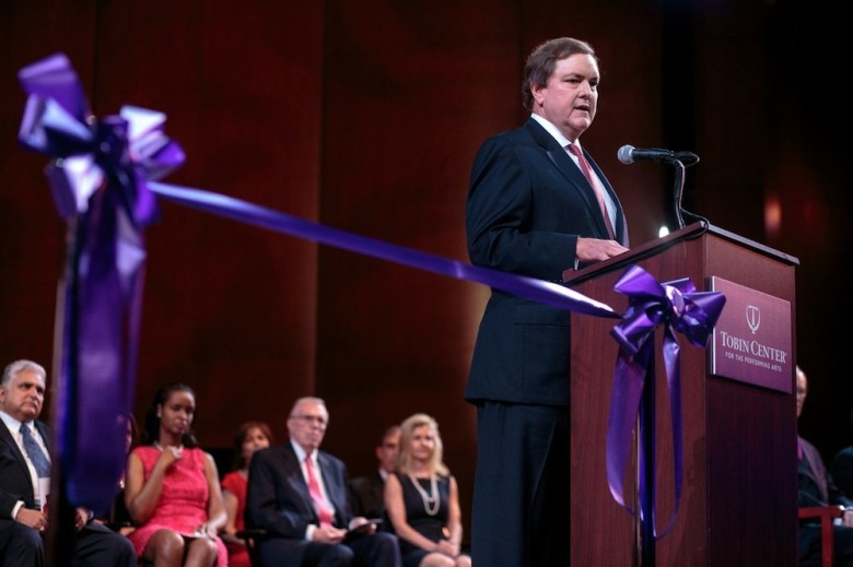 J. Bruce Bugg, Jr. addresses the audience at the Tobin Center opening ceremony. Photo by Scott Ball.