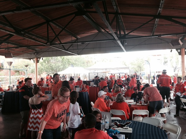 A post-game tailgating party at UTSA. Photo by Sarah Gibeens.