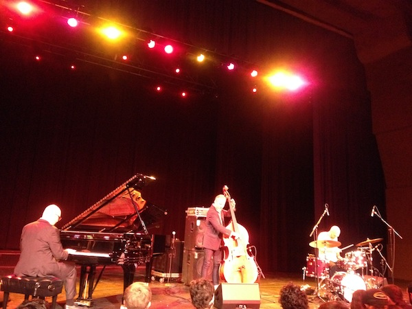 Bad Plus jazz band on stage at the Aztec Theatre. Photo by Adam Tutor.