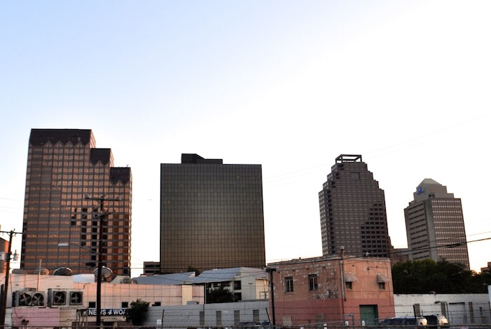 A section of San Antonio's skyline looking west from left: Bank of America Plaza, One Riverwalk Place, Weston Centre, and the Wyndham San Antonio River Walk Hotel. Photo by Iris Dimmick.