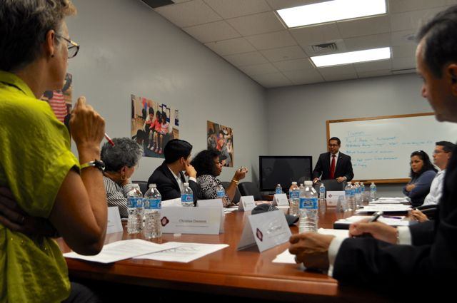 Members of the Mayor's Task Force on Preserving Dynamic and Diverse Neighborhoods discuss priorities. Photo by Iris Dimmick.
