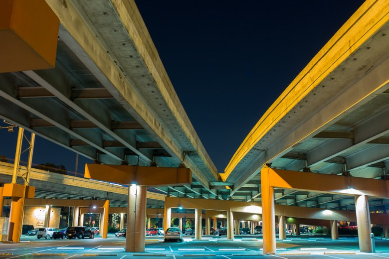 Parking for The Pearl Brewery makes use of underpass space. Photo by Scott Ball.
