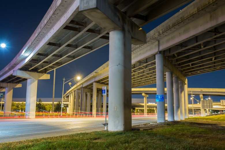 Broadway looming under I-35 and US-281. Photo by Scott Ball.