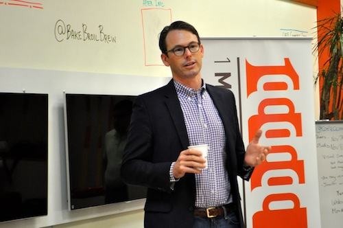 Café Commerce President Peter French talks about the new culinary accelerator, Break Fast and Launch, during the local 1 Million Cups meeting. Photo by Iris Dimmick.