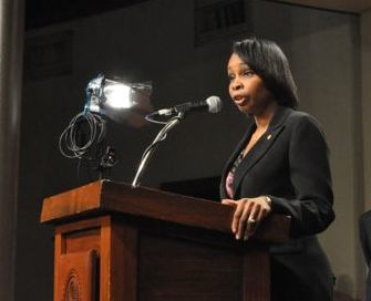 Mayor Ivy Taylor speaks at the fifth SA Clean Tech Water Forum. Photo by Iris Dimmick.