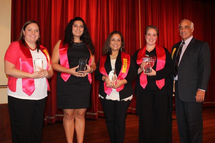 From left: SAISD teachers and innovation honorees Maggie Rath, Rebekah Ozuna, Maria Elena Arellano and Jennifer Lankes with SAISD Superintendent Sylvester Perez. Courtesy photo.