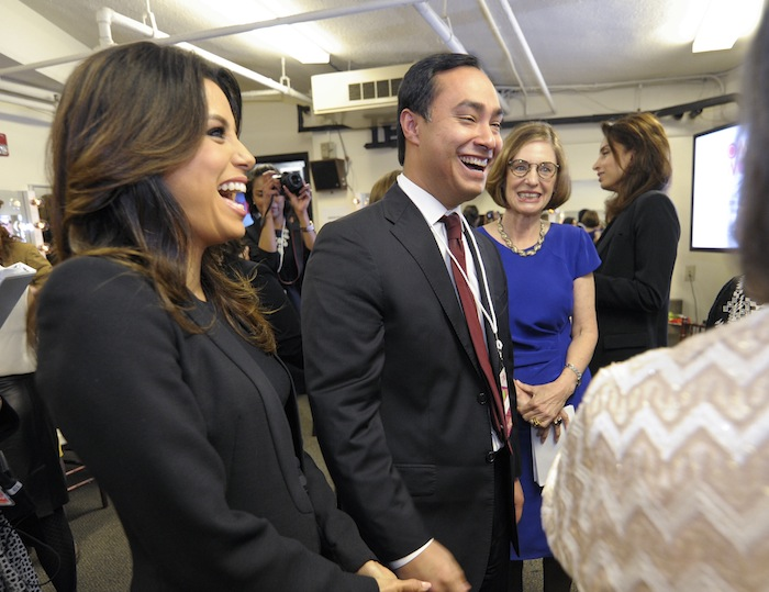 Actress Eva Longoria (from left), congressman Joaquin Castro, and journalist Jan Jarboe Russell, mingle during the Women In The World Texas Forum, presented by Tina Brown Live Media. Photo by Ashley Landis/DA Media for Women in the World.