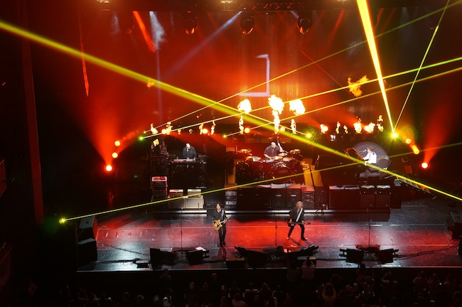 """Paul McCartney and his band play """"Live and Let Die"""" at the Tobin Center. Photo by Alan Weinkrantz."""