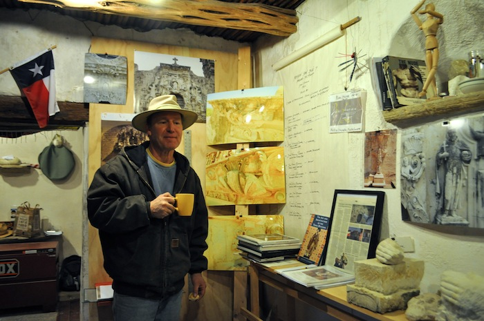 Master mason and conservation artist Ivan Myjer in his temporary workshop at Mission San José during the Rose Window restoration process in early 2014. Photo by Iris Dimmick.