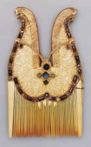 """Comb of Henry I, 8th century Egyptian elephant ivory, 10th century German gold. Image from """"The Quedlinburg Treasury."""""""