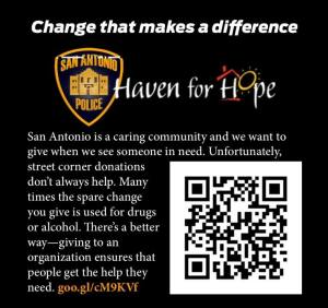 """The SAPD's """"Change That Makes a Difference"""" card."""