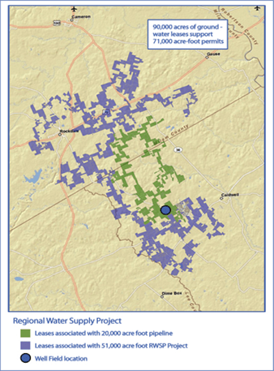 from the Blue Water Systems website. The groundwater leases colored purple are the groundwater leases dedicated to the Vista Ridge Project.